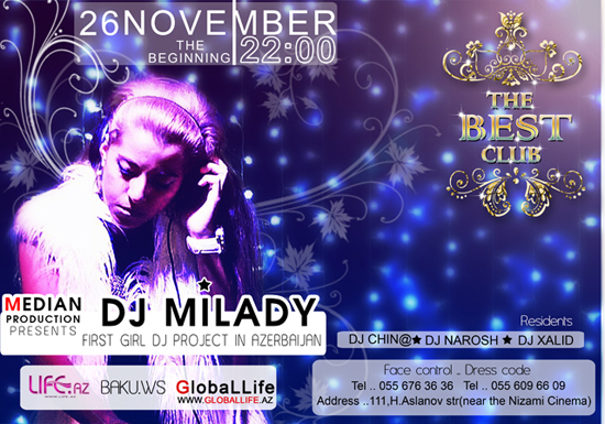 Dj Milady - First Girl Dj Project In Azerbaijan [Афиша]