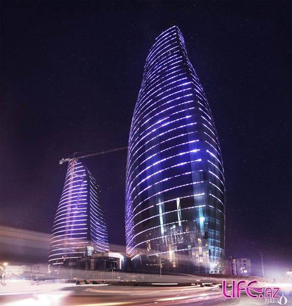 Грандиозное освещение Flame Towers в Баку