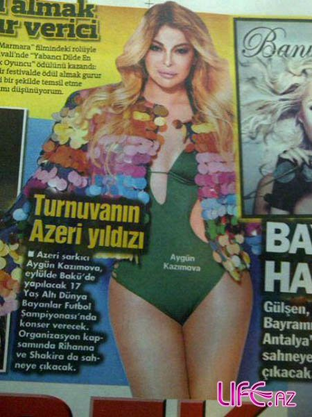 Айгюн Кязымова появилась на обложке популярной турецкой газеты